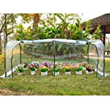 Outsunny 7' x 3' x 2.6' Portable Tunnel Greenhouse Plants Flower Warm Green House, Transparent
