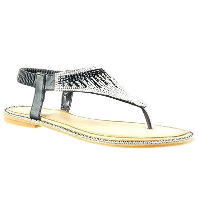 Angkorly - Chaussure Mode Sandale slip-on ouverte femme bijoux strass diamant Talon plat 1 CM - Argent - E085-RSA lDLY2LTqb