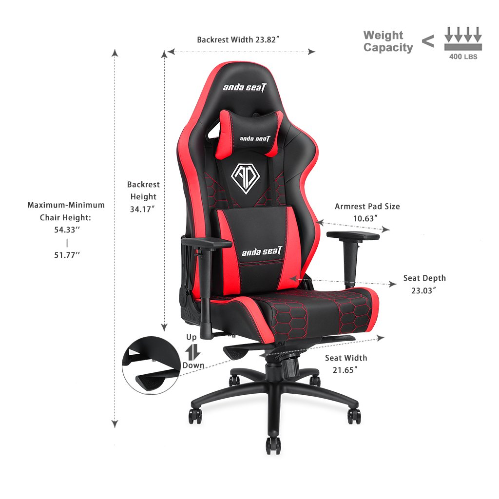 [Large Size Big and Tall 400lb Gaming Racing Chair] Anda Seat Spirit King High Back Computer Office Desk Executive Swivel Chair with Adjustable Headrest and Lumbar Support, Easy Assembly - Black/Red by Anda seat (Image #2)