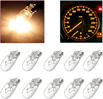 cciyu 10 pcs T10 168 194 W5W Blue Halogen Light Bulb Instrument Cluster Gauge Dash Lamp 12V 5W