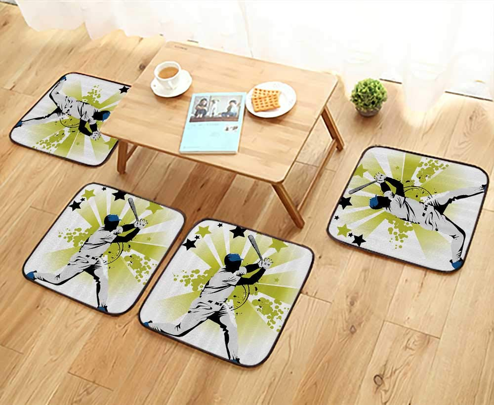 Printsonne Elastic Cushions Chairs Pitcher Hits The Ball st Stars All Over The Speed Strg Game Moti Team Gra for Living Rooms W29.5 x L29.5/4PCS Set