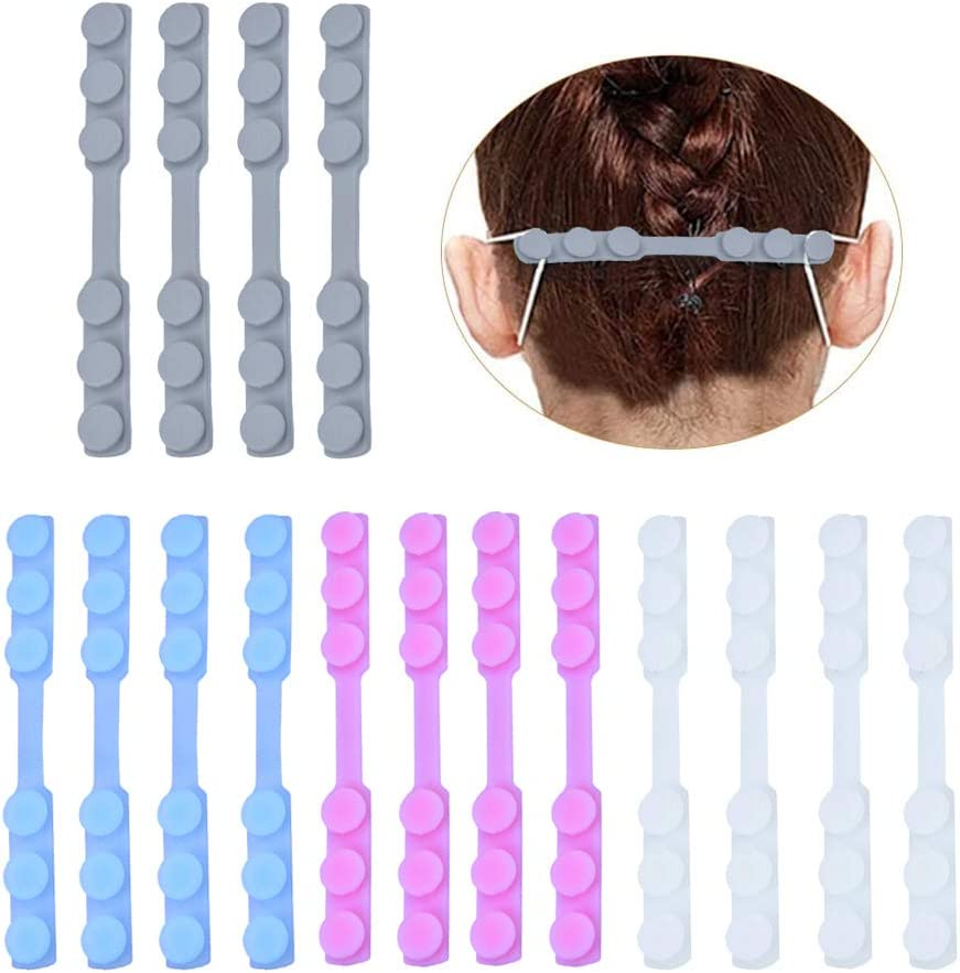 Mask Strap Extenders,16 PCS Adjustable Mask Ear Strap Hook for Masks Anti-Slip Silicone Extension Buckle for Adults and Children