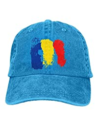 Adult Denim Baseball Cap Romanian Flag