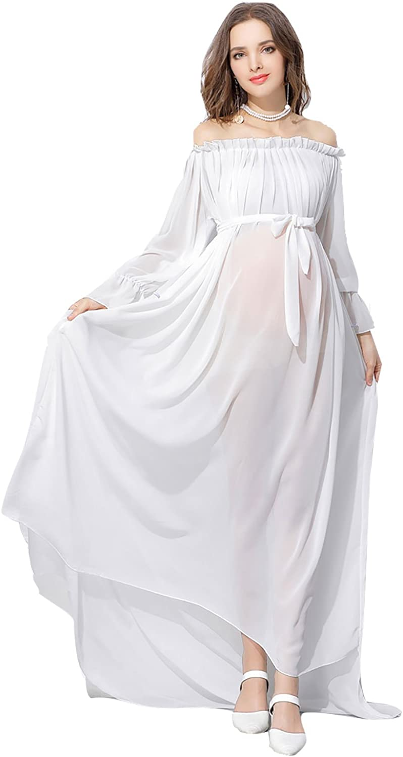 Women Off Shoulder Sheer Chiffon Gown See Through Maxi Photography Ruffled Sleeve Maternity Dress White At Amazon Women S Clothing Store