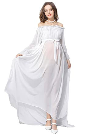 85d5ab7fdf142 Image Unavailable. Image not available for. Color: Women Off Shoulder Sheer  Chiffon Gown See Through Maxi Photography Ruffled Sleeve Maternity Dress  White