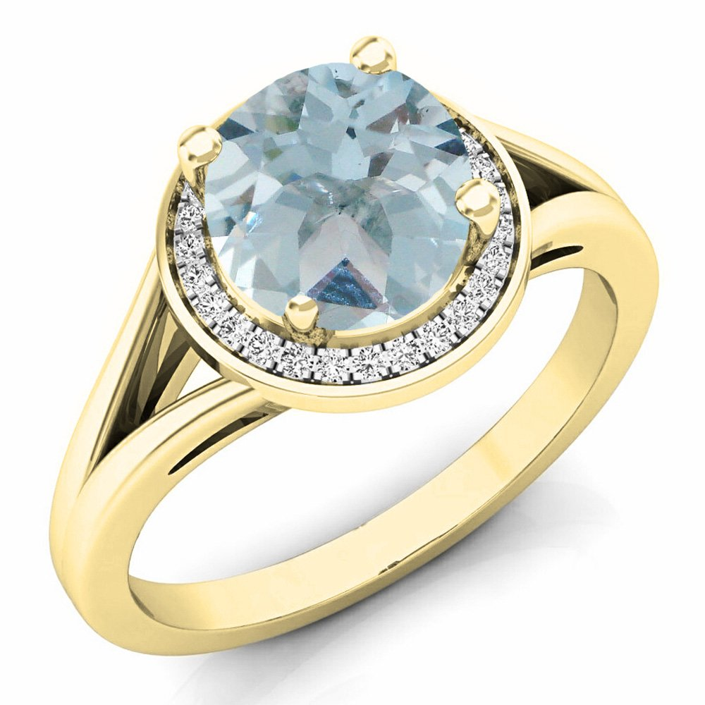 14K Yellow Gold Aquamarine & White Diamond Halo Style Bridal Engagement Ring (Size 7.5) by DazzlingRock Collection