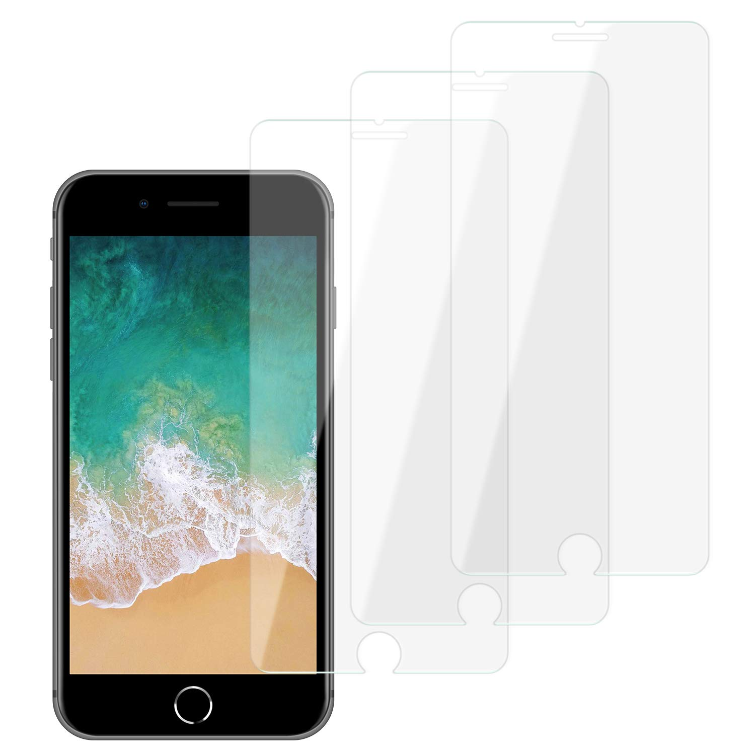iPhone 6/7 / 8 Screen Protector Tempered Glass (3 Packs), Case Friendly, Easy Application, Bubble Free, Anti Impact Scratch and Fingerprint Compatible for iPhone 6/7 / 8 product image