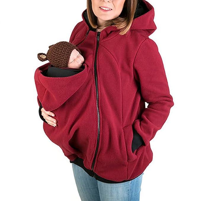 Ideal Sudadera Capucha Mujer Embarazada Portador de Bebé Señoras Pullover Algodòn de Bolsillo Canguro Funcional Portabebé
