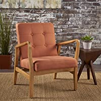 Christopher Knight Home 300073 Brayden Mid-Century Fabric Club Chair, Orange