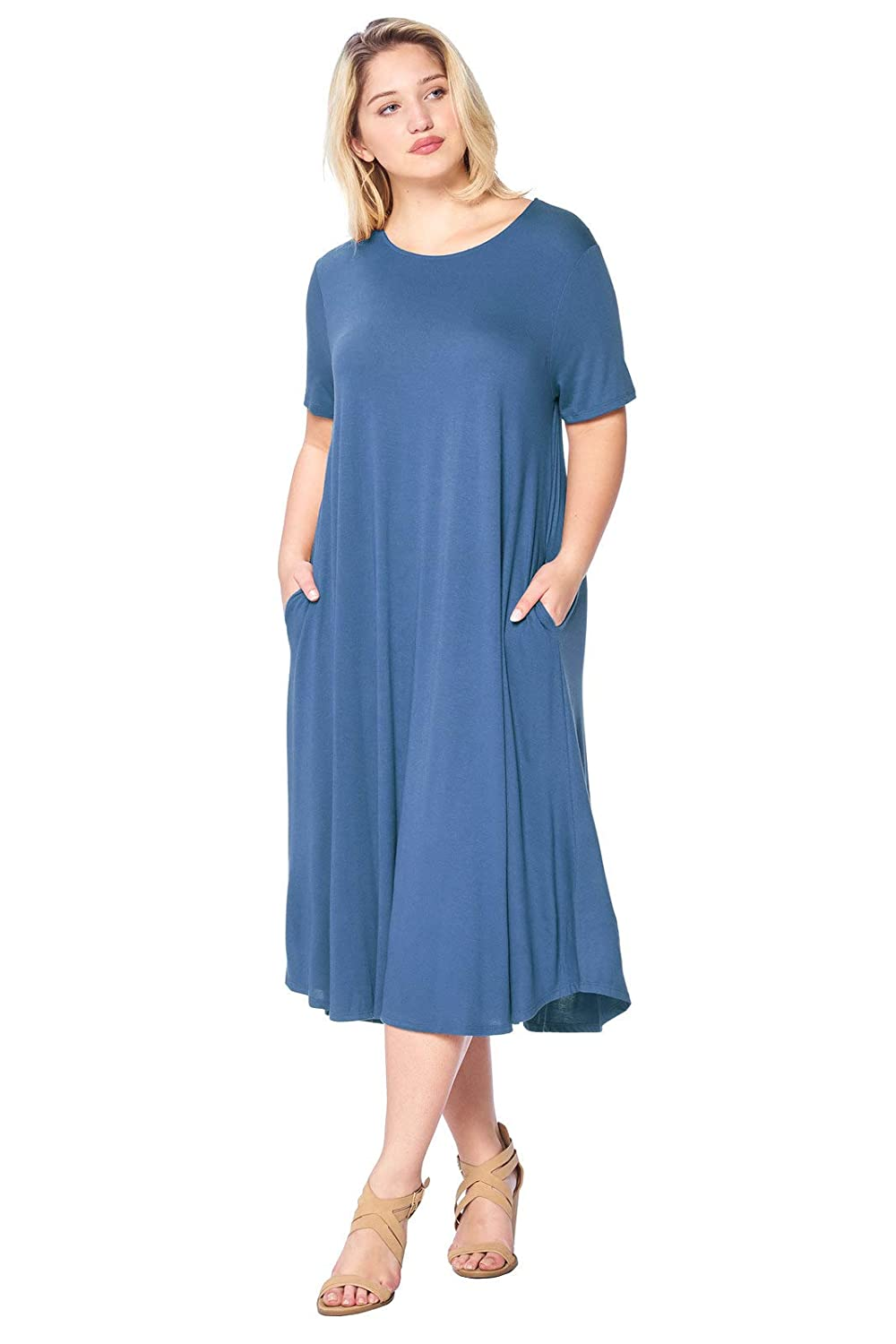 1X-4X Modern Kiwi Womens Plus Size Short Sleeve Flowy A-Line Pocket Midi Maxi Dress