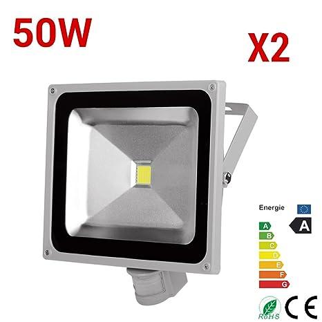 2x 50W LED blanco exterior reflector reflector fresco con sensor de movimiento IP65