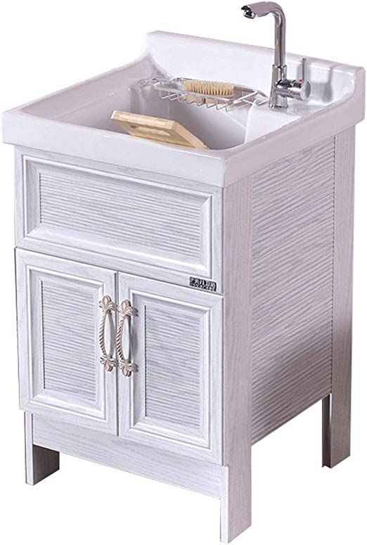 Ceramic Laundry Sink And Metal Storage Cabinet Combination For Bathroom Balcony Garage Utility Room Large Wash Tub For Cleaning And Washing Amazon Ca Home Kitchen