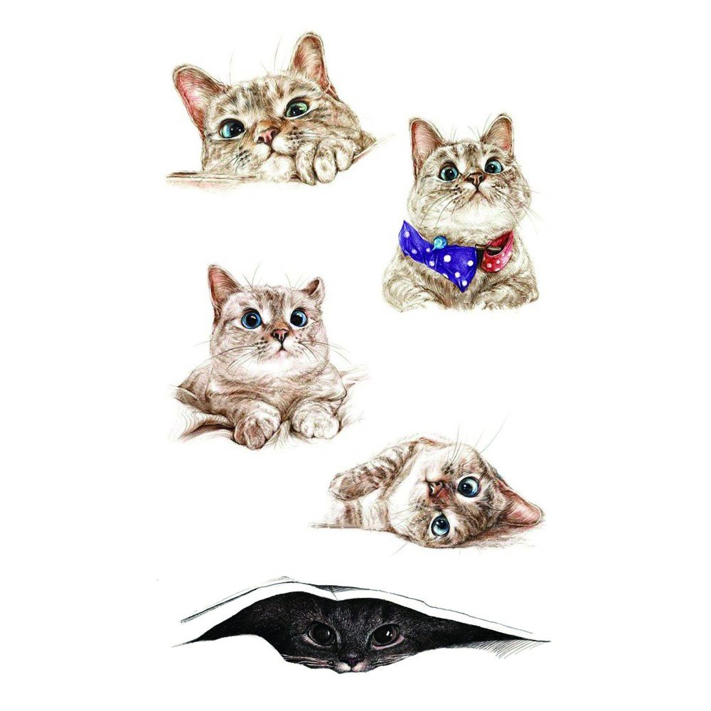 WYUEN 5 PCS Small Cats Women Body Temporary Tattoos Kids Fake Tattoo Stickers Children Body Art 9.8X6cm A-279