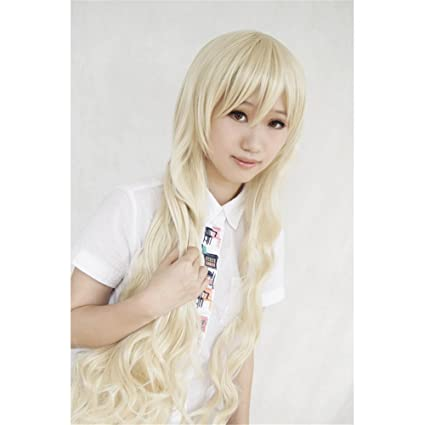 LanTing Cosplay Peluca Kagerou Project Mekakucity Actors Kano Kozakura Mari Marry long blonde lolita curl Cosplay