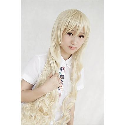 LanTing Cosplay Peluca Kagerou Project Mekakucity Actors Kano Kozakura Mari Marry long blonde lolita curl Cosplay