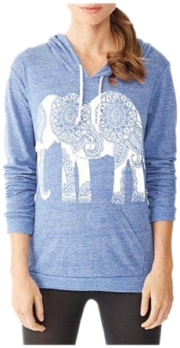 shinianlaile Womens Pullover Elephant Printing Long Sleeve with Pockets Hoodies Swatsuit