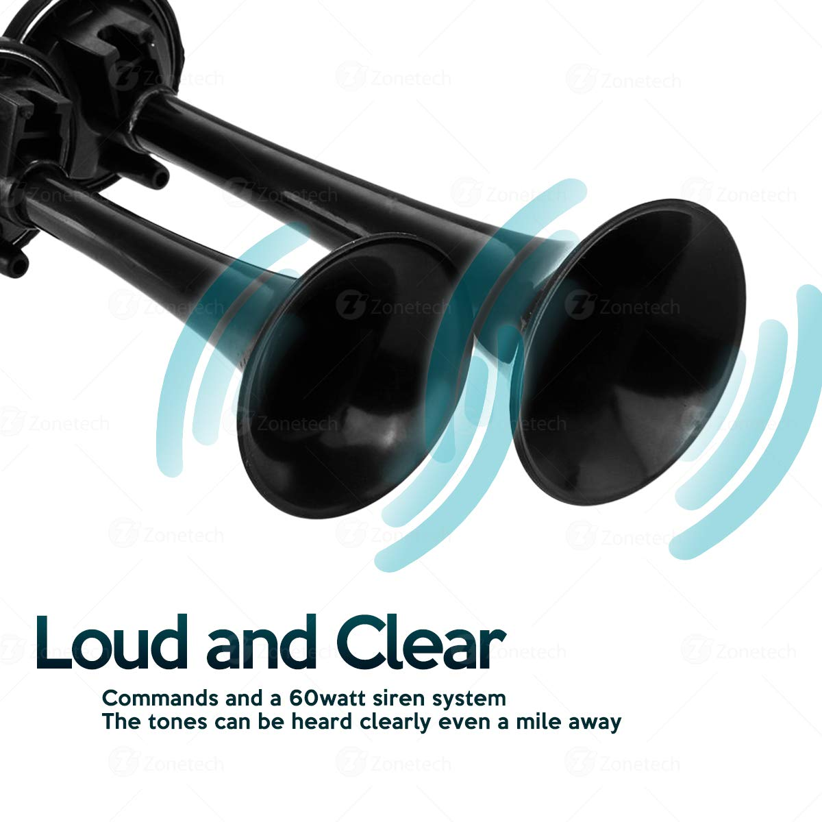 12V Dual Trumpet Air Horn -Zone Tech Premium Quality Classic Black Super Loud Powerful Train Sound Shiny Dual Car Van Truck Boat Air Horn by ZONETECH (Image #2)