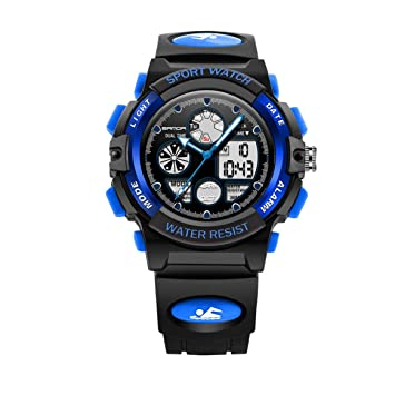Sanda 116 Children Watch Luminous Analog LED Digital Watch 30m Reloj Despertador Impermeable para Deportes al