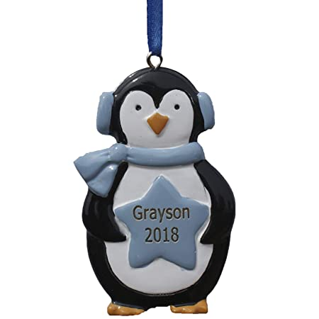 GPG Ltd PERSONALISED & ENGRAVED BOYS BLUE STAR PENGUIN HAND PAINTED XMAS DECORATION - ANY NAME CAN BE ADDED (11 LETTERS MAX) (Name & Year): Amazon.co.uk: ...