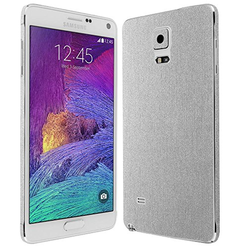 4 Screen Protector + Brushed Aluminum Full Body, Skinomi TechSkin Brushed Aluminum Skin for Samsung Galaxy Note 4 with Anti-Bubble Clear Film Screen ()