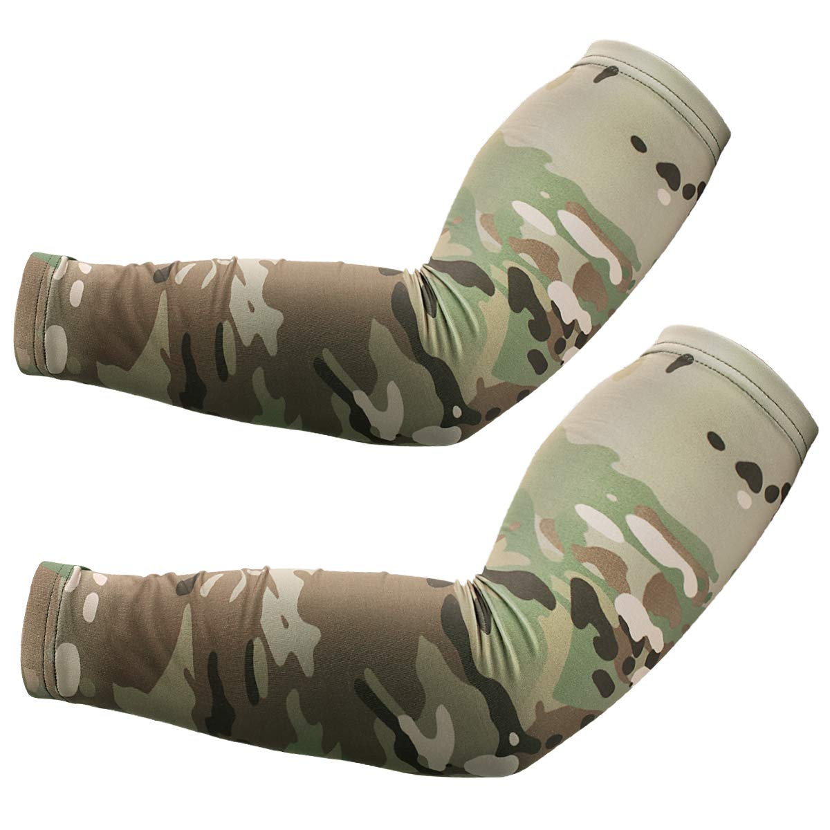 JIUSY 2 pcs - Camouflage Elastic Sports Compression Arm Sleeves Cool Sun Block UV Protection Tattoo Cover Arm Warmer for Bicycle Hunting Basketball Baseball Football