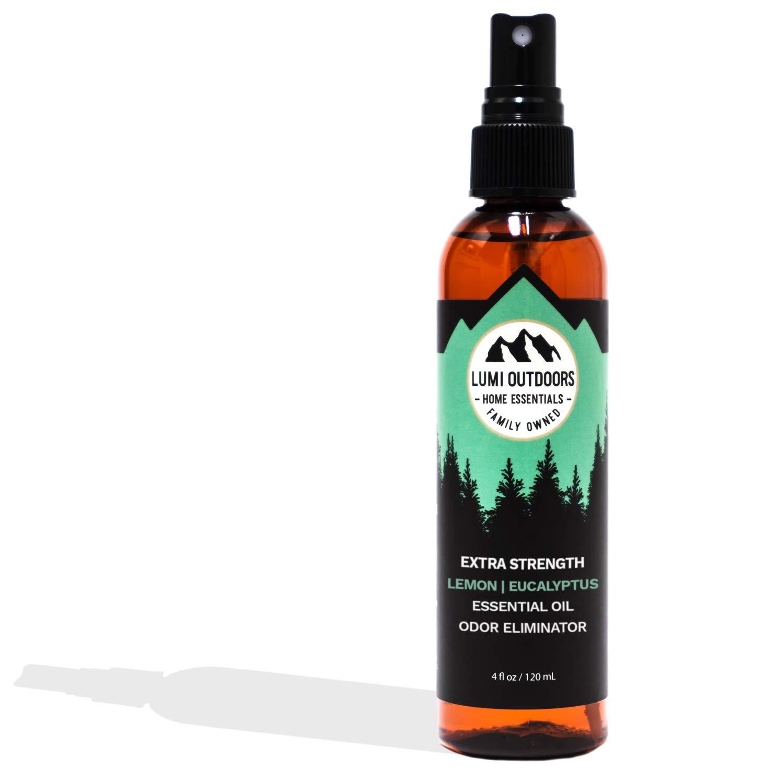 Lumi Outdoors Natural Shoe Deodorizer Spray and Foot Odor Eliminator - Extra Strength Shoe Spray uses Essential Oils As Organic Deodorant - Peppermint, Tea Tree, Eucalyptus