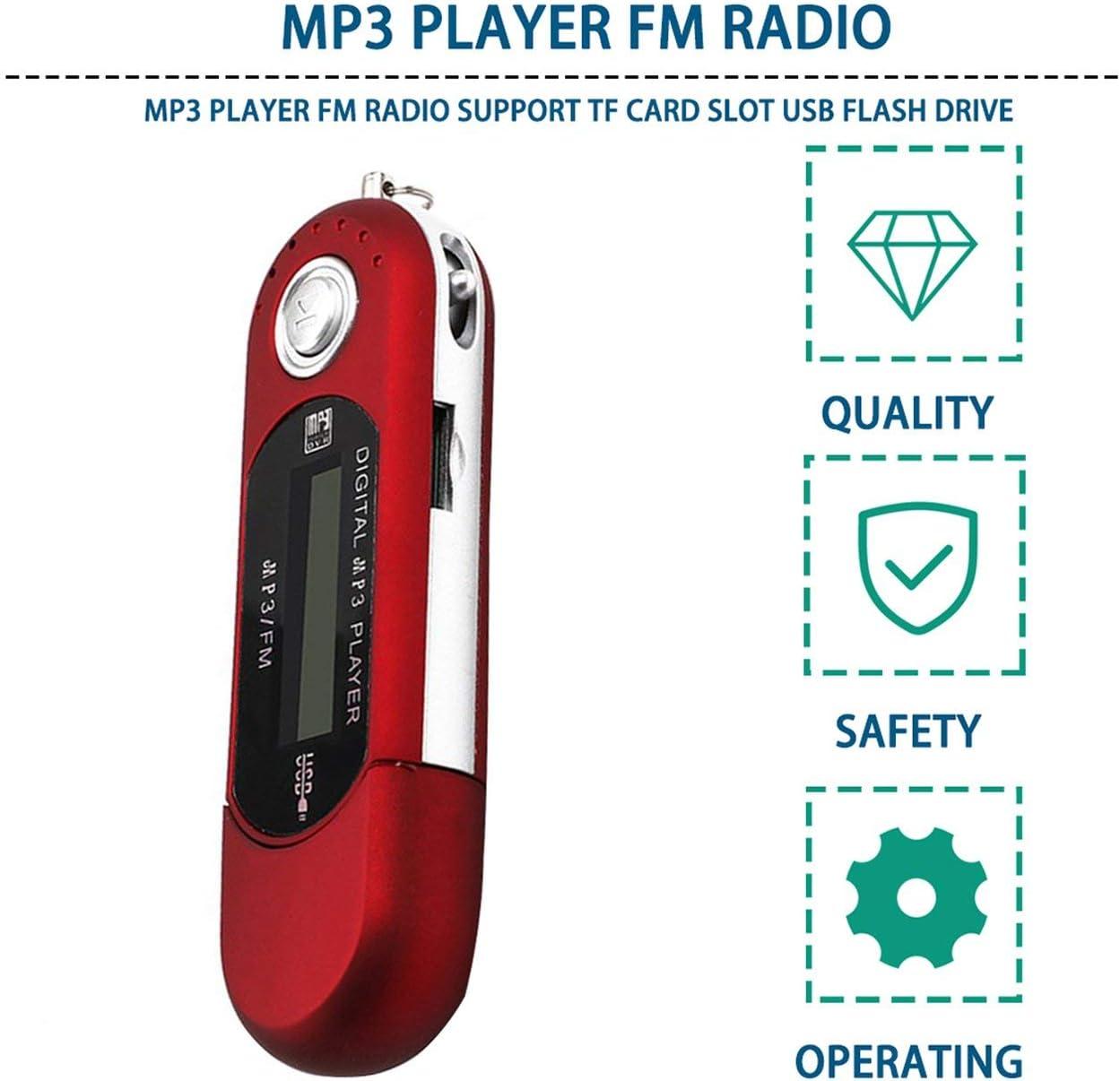 Lorenlli Digital Mini USB MP3 Music Player FM Radio Function With TF Card Slot LCD Screen Portable USB Flash Drive With Earphone