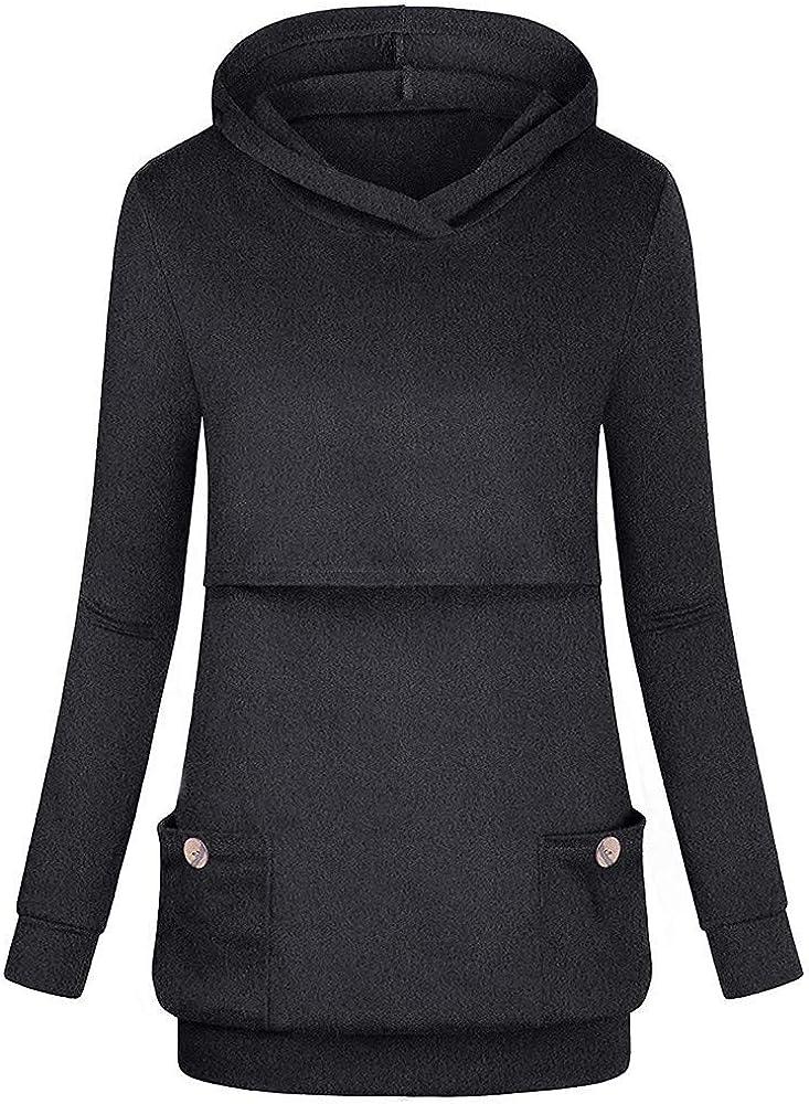 Aritone Womens Nursing Hoodie Pullover Sweatshirt Casual Long Sleeves Breastfeeding Tops Blouse S-XXXL