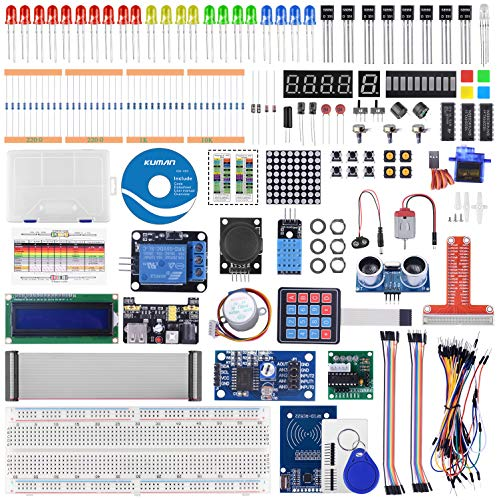 kuman RFID Starter Kit for Raspberry Pi 4 B 3 B/B+, Python C Code, 21 Projects, Electronics and Programming Beginner/Learning Kit (Soldered LCD I2C 1602)