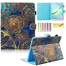 Galaxy Tab S2 9.7 Case,T815 Case,Dteck(TM) Stand Flip Pocket Cover [Card Slot] Auto Sleep/Wake Feature Smart Folio Protective Cover Case for Galaxy Tab S2 Tablet 9.7 inch SM-T810 T815,Golden Flower
