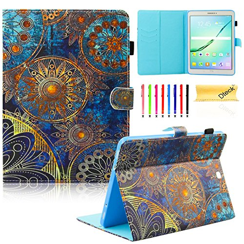 Galaxy Tab S2 9.7 Case,T815 Case,Dteck(TM) Stand Flip Pocket Cover [Card Slot] Auto Sleep/Wake Feature Smart Folio Protective Cover Case for Galaxy Tab S2 Tablet 9.7 inch SM-T810 T815,Golden Flower (Wake Flowers)