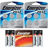 12 Energizer CR2032 3v Lithium Coin Cell Batteries Dl2032 ECR2032 (2x6), And 4 Energizer AA Max Alkaline Batteries