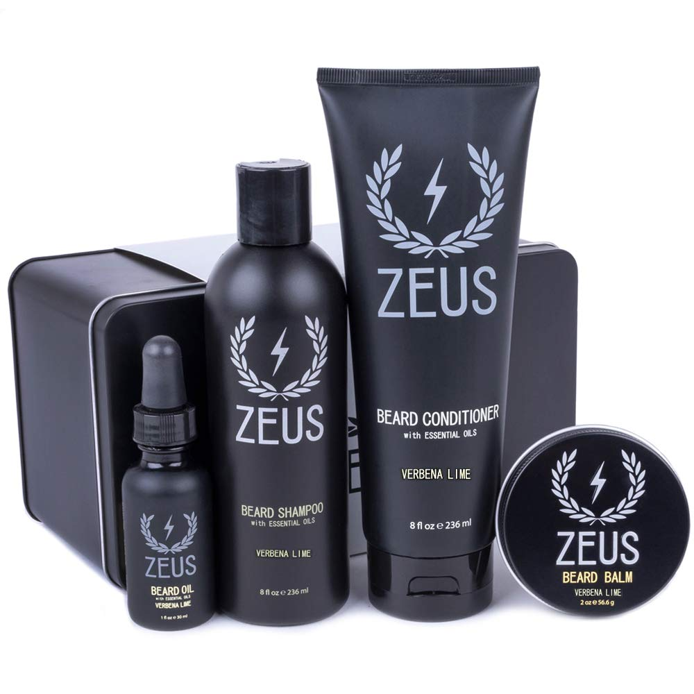 Zeus Everyday Beard Grooming Kit- Men's Daily Set for Quality Beard Maintenance (Verbena Lime)