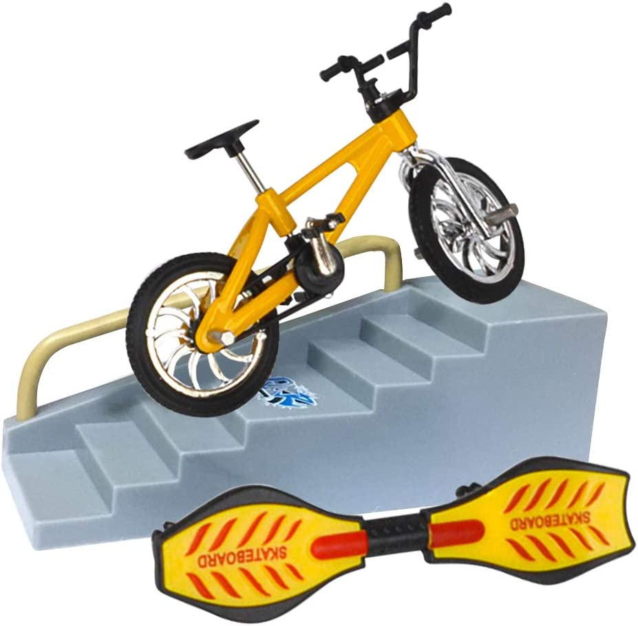 ZHANGLI Finger Bicycle Finger Skateboard Toy Set Educational Toy Fun Bike Scooter for Kids Mini Finger Skateboard Set Lightweight