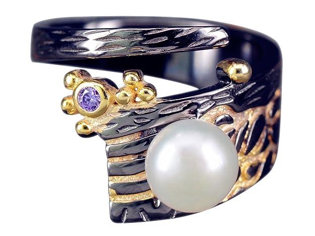 Silberring Lotus Vintage Geschwärzt Blume Blüte Ring Silber 925 Verstellbar