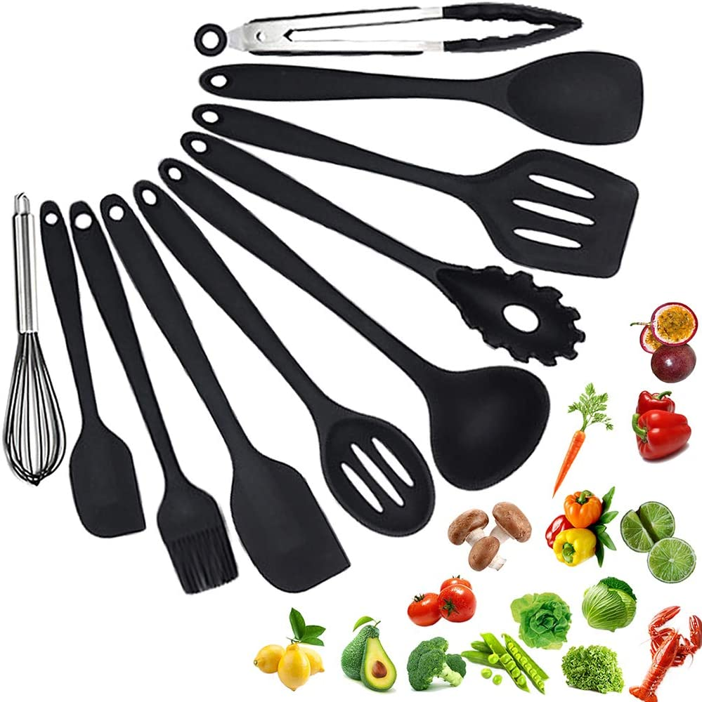 Silicone Utensils Set Kitchen Heat Resistant Cooking Utensils Set No Scratch Easy To Clean Kitchenware Kitchen Tools For Cooking 10PCS(BLACK)