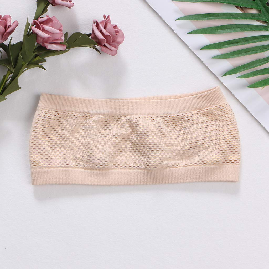 VIccoo Frauen-Dame Tube Top Bra Strapless Underwear Breathable Stretch Layering Seamless Wei/ß
