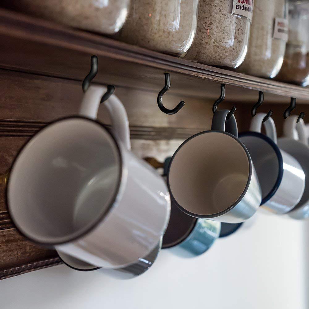 ECKJ Cup Hooks Mug Hooks 70PCS Ceiling Hooks Vinyl Coated Screw in Wall Hooks Plant Hooks Kitchen Hooks Great for Indoor Outdoor Use Color Brown