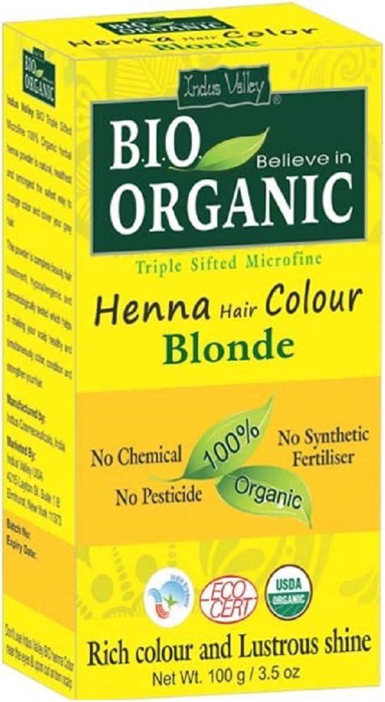 Indus Valley Henna Tinte para el cabello Color Rubio 100% Bio Orgánico Triple tamizado Microfine Polvo (Blonde)