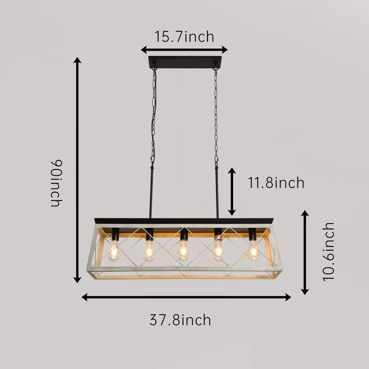 PUSU Farmhouse Dining Room Lighting Over Table Pendant Lighting for Kitchen Island Industrial Chandelier Edison Bulb Metal Open-Cage with White Wooden L37.8/'/'W9.8/'/'H10.6/'/'