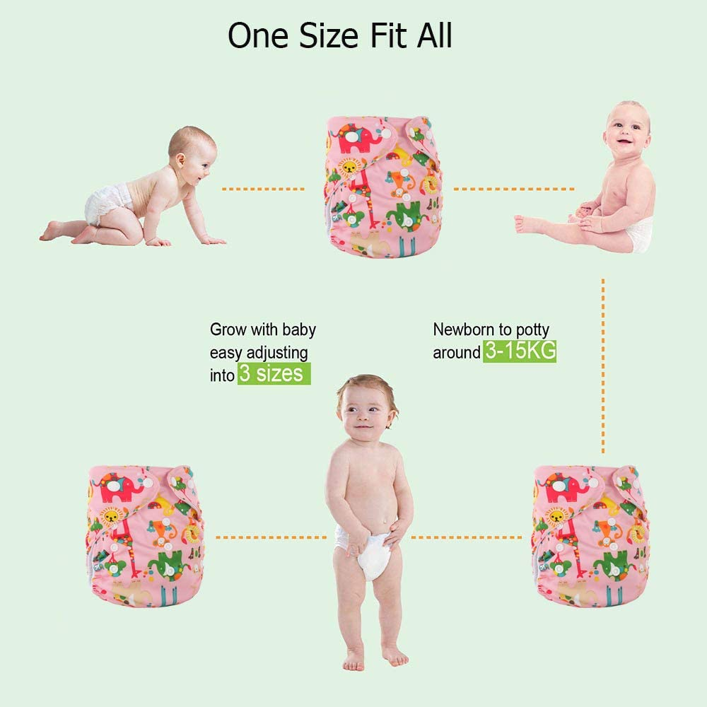 TDIAPERS One Size Baby Washable Reusable Pocket Cloth Diapers 1PC