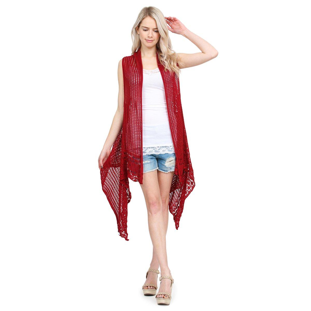 MYS Collection Crochet Knit Pattern Long Drape Vest - Beachwear Open Knitted Bathing Swimsuit Bikini Cover up Kaftan Shawl (Burgundy)