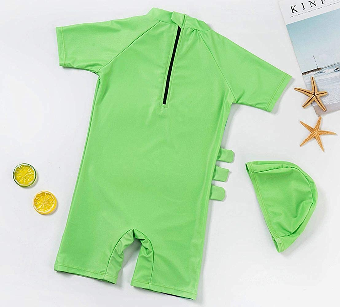 Childlike Me Baby Toddler Boy One Piece Swimsuit Boys Short Sleeve Sunsuits with Hat UPF 50+
