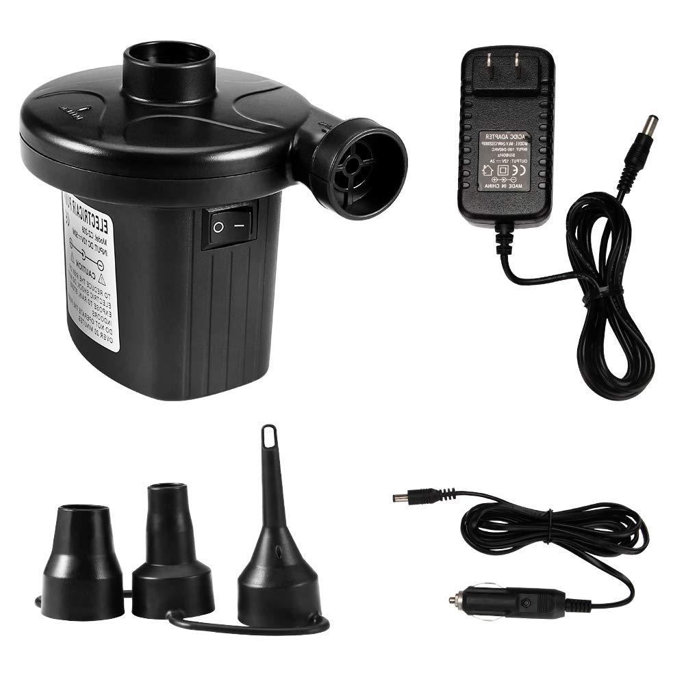 Kndio Electric Air Pump,Portable Quick-Fill Air Pump with 3 Nozzles,110V AC/12V DC,Deflator Car Electric Pump,Perfect Inflator/Deflator Pumps for Outdoor Camping, Air Mattress Beds,Boats,Swimming Ring