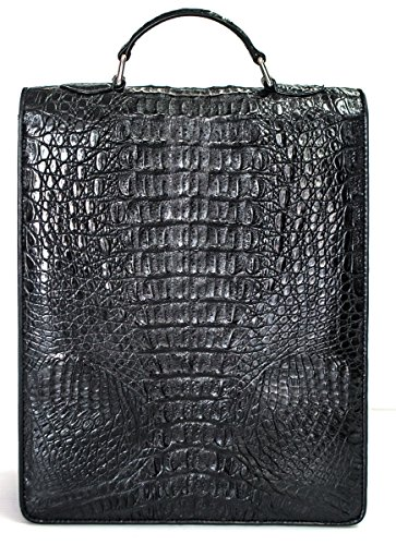 Crocodile Large Camera M Skin Bag Authentic Black Handbag Hornback Organizer Mens qSY5Yxw81