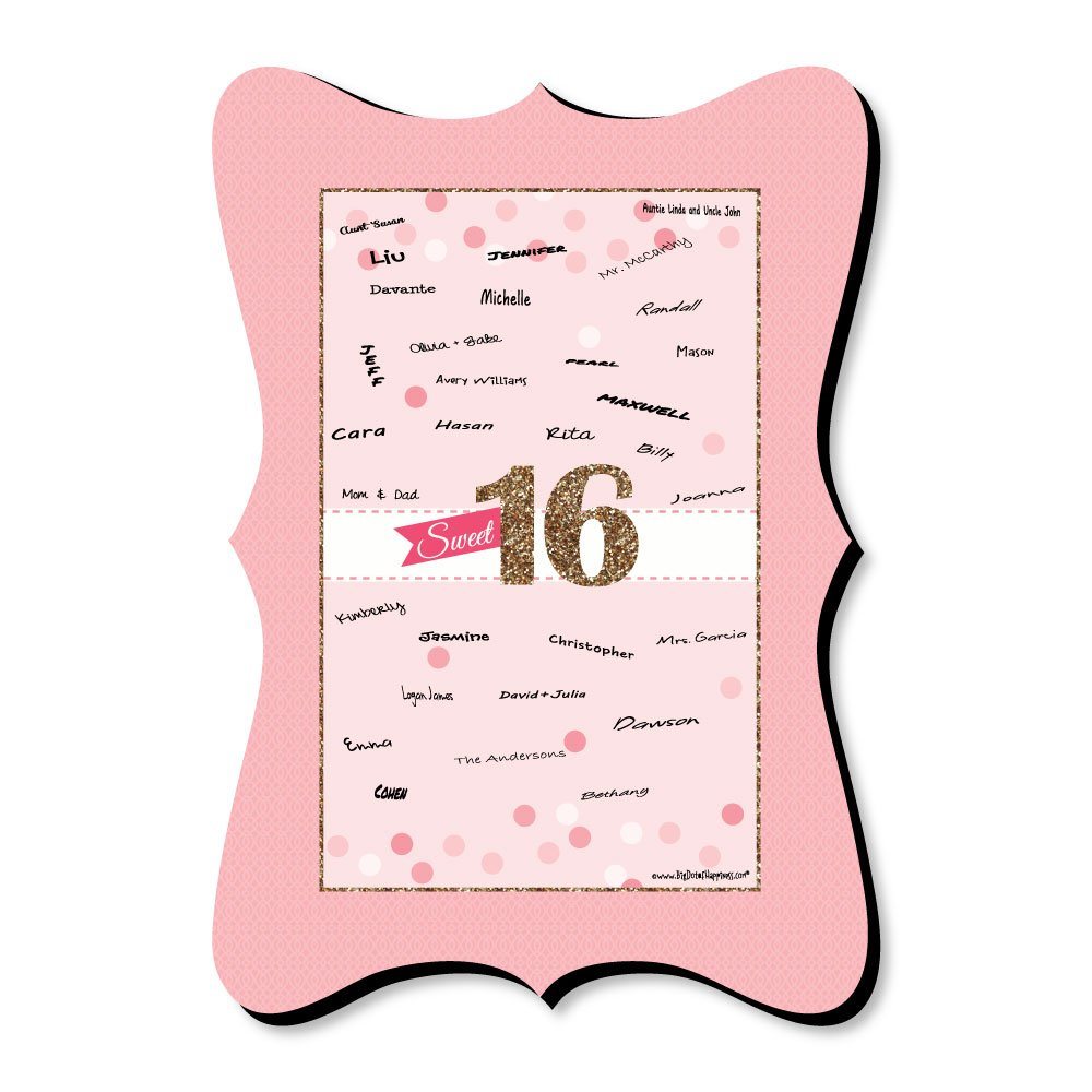 Big Dot of Happiness Sweet 16-16th Birthday - Unique Alternative Guest Book - 16th Birthday Party Signature Mat