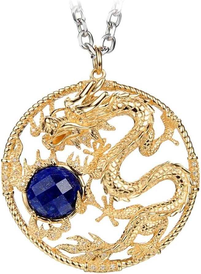 XYLUCKY Original diseño 18K diamante azul natural hecho a mano vintage oro collar China del dragón