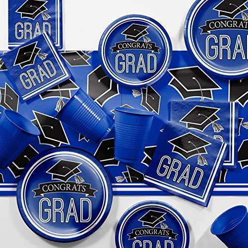 (Graduation School Spirit Blue Party Supplies Kit, Serves 36)