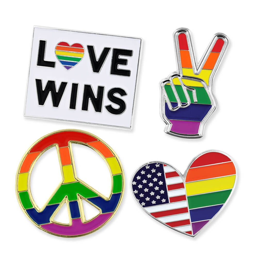 PinMart Gay Pride Rainbow Flag Love Wins LGBT Enamel Lapel Pin Set