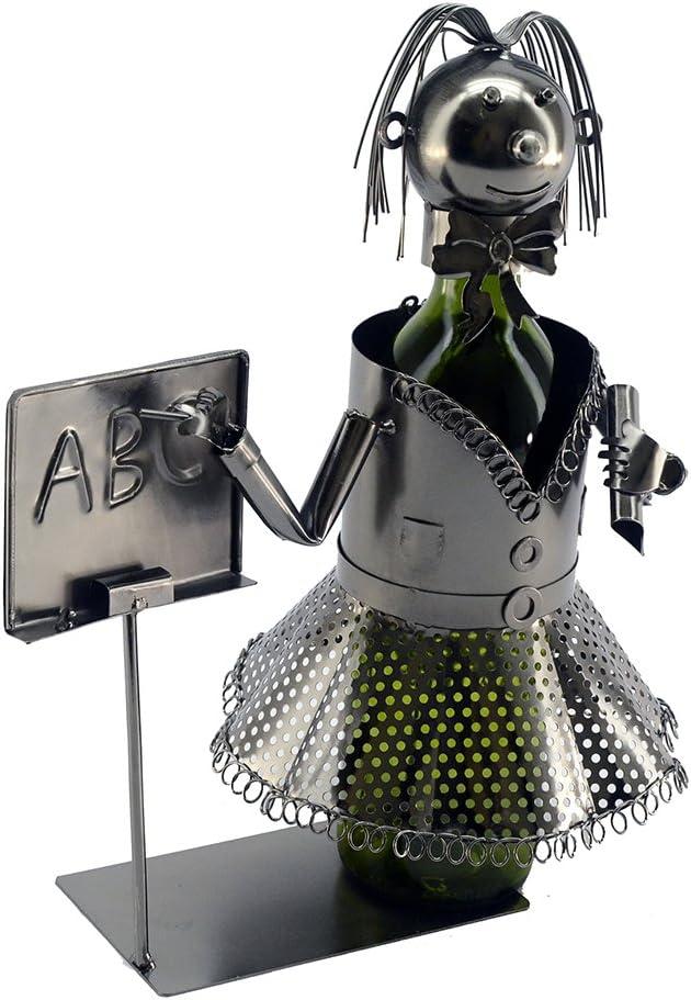Lady profesor Metal botella de vino soporte carácter: Amazon.es: Hogar